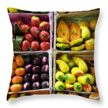 Paper Mache Fruits Throw Pillow by Gloria & Richard Maschmeyer - Printscapes