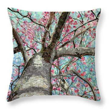 Throw Pillow featuring the mixed media Paper Magnolias by Shawna Rowe