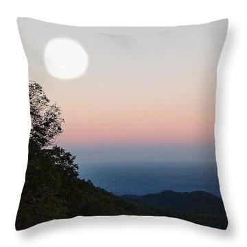Paper Moon Over Blue Ridge Throw Pillow