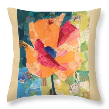 Paper Poppy Throw Pillow by Barbara Tibbets