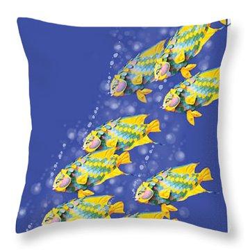 Paper Sculpture Fish Throw Pillow