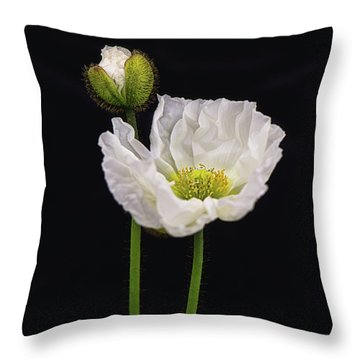 Paper White Poppy Throw Pillow