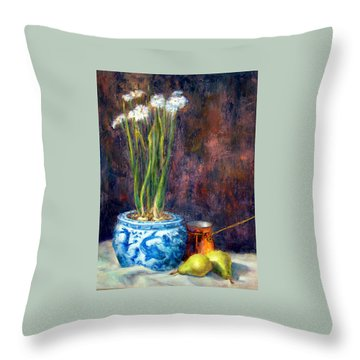 Paper Whites And Pears Throw Pillow by Jill Musser