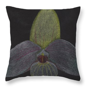 Paphiopedilum Mem. Orchid Throw Pillow