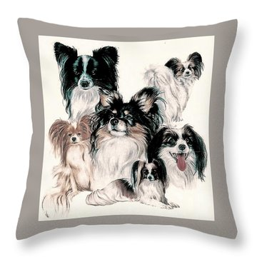 Papillon And Phalene Collage Throw Pillow