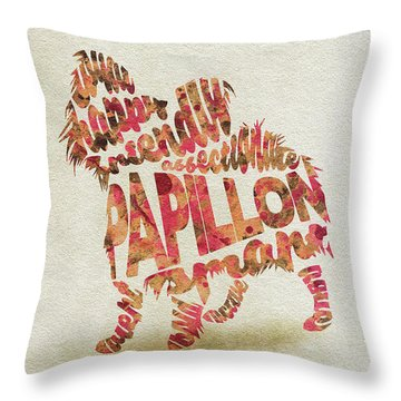 Throw Pillow featuring the painting Papillon Dog Watercolor Painting / Typographic Art by Ayse and Deniz
