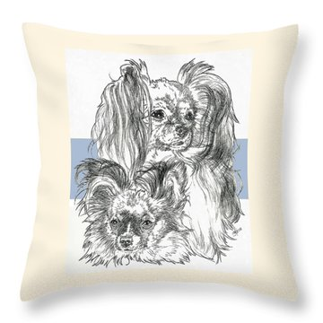 Papillon Father And Son Throw Pillow by Barbara Keith