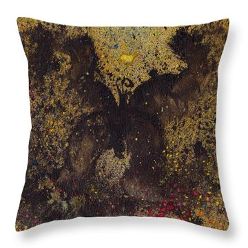 Throw Pillow featuring the painting Papillon Noir - Dark Butterfly - Mariposa Negra by Marc Philippe Joly