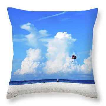 Throw Pillow featuring the photograph Para Sailing On Siesta Key by Gary Wonning