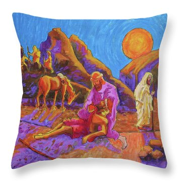 Parables Of Jesus Parable Of The Good Samaritan Painting Bertram Poole Throw Pillow