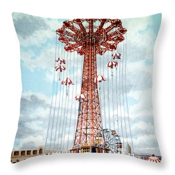 Parachute Jump In Coney Island New York Throw Pillow