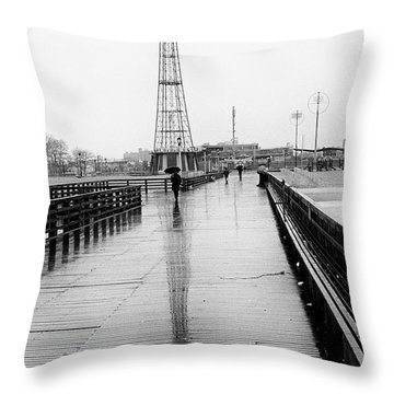 Parachute Jump In Rain Throw Pillow