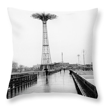Parachute Jump In Rain Throw Pillow by Dave Beckerman