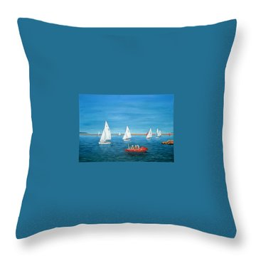 Parade Of Sail, 2009 - West Kirby Marine Lake Throw Pillow by Peter Farrow