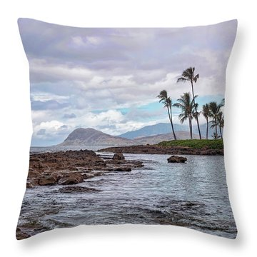 Paradise Cove Lagoon Throw Pillow by Heather Applegate