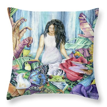 Paradise Garden Throw Pillow