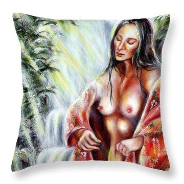 Throw Pillow featuring the painting Paradise by Hiroko Sakai