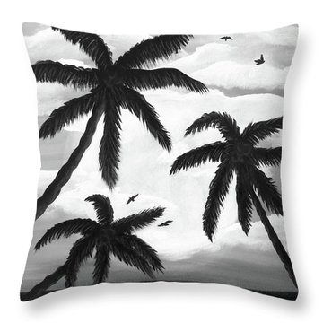 Throw Pillow featuring the painting Paradise In Black And White by Teresa Wing