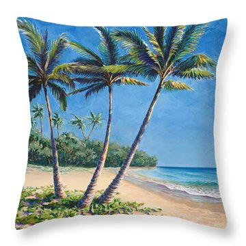 Tropical Paradise Landscape - Hawaii Beach And Palms Painting Throw Pillow