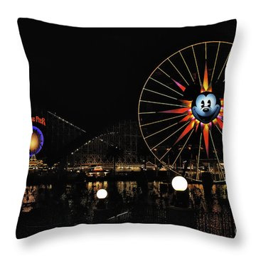 Paradise Pier And Mickey's Fun Wheel Throw Pillow