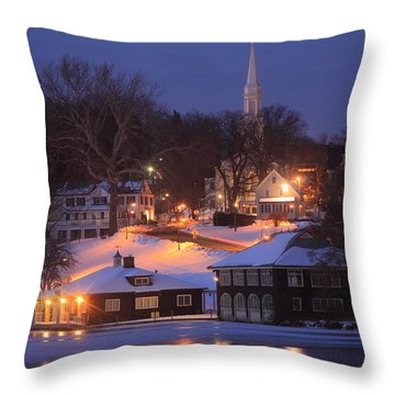 Paradise Pond Smith College Winter Evening Throw Pillow