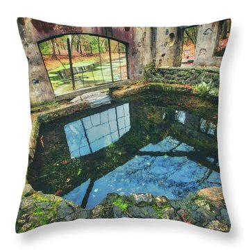 Throw Pillow featuring the photograph Paradise Springs- Spring House - Kettle Moraine State Forest by Jennifer Rondinelli Reilly - Fine Art Photography