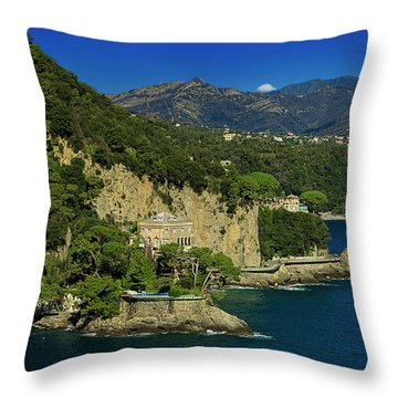 Paraggi Bay Castle And Liguria Mountains Portofino Park  Throw Pillow