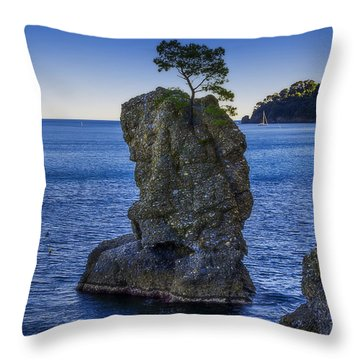 Throw Pillow featuring the photograph Paraggi Portofino Bay And The Tree On The Rock by Enrico Pelos