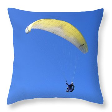 Paraglider And Seagull Throw Pillow by Will Borden