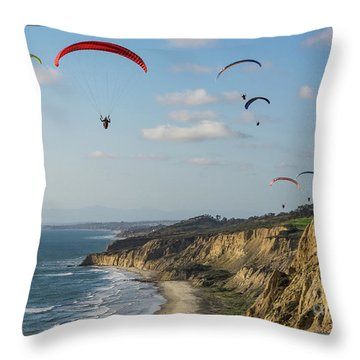 Paragliders At Torrey Pines Gliderport Over Black's Beach Throw Pillow