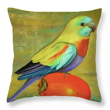 Throw Pillow featuring the painting Parakeet On A Persimmon by Leah Saulnier The Painting Maniac