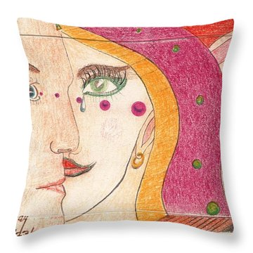 Throw Pillow featuring the drawing Paranoia by Rod Ismay