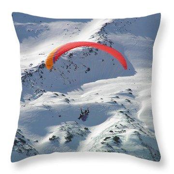 Parasailing In Davos Throw Pillow