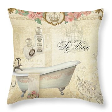 Parchment Paris - Le Bain Or The Bath Chandelier And Tub With Roses Throw Pillow by Audrey Jeanne Roberts