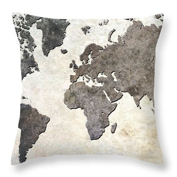 Parchment World Map Throw Pillow