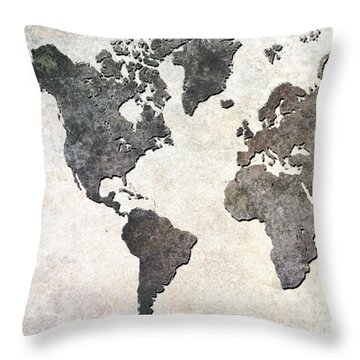 Throw Pillow featuring the digital art Parchment World Map by Douglas Pittman