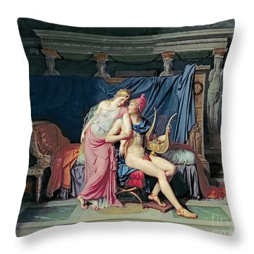 Paris And Helen Throw Pillow by Jacques Louis David