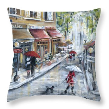 Poodle In Paris Throw Pillow