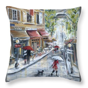 Poodle In Paris Throw Pillow