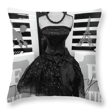 Throw Pillow featuring the photograph Paris Ballerina Costume Black And White French Decor - Parisian Ballet Art Black And White Art Deco by Kathy Fornal