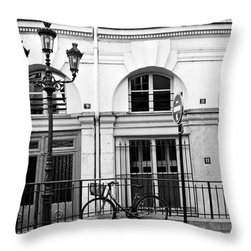 Throw Pillow featuring the photograph Paris Bicycle Street Lanterns Architecture Black And White Art Deco - Paris Black White Home Decor by Kathy Fornal
