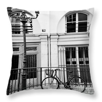 Throw Pillow featuring the photograph Paris Black And White Architecture Windows Street Lanterns Bicycle Print - Paris Street Lanterns by Kathy Fornal