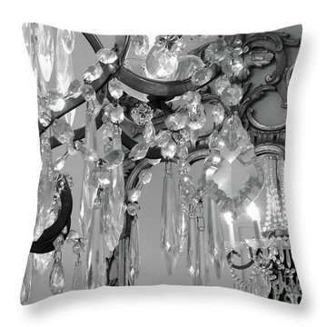 Throw Pillow featuring the photograph Paris Black And White Crystal Chandelier Mirrored Wall Decor -parisian Black White Chandelier Prints by Kathy Fornal