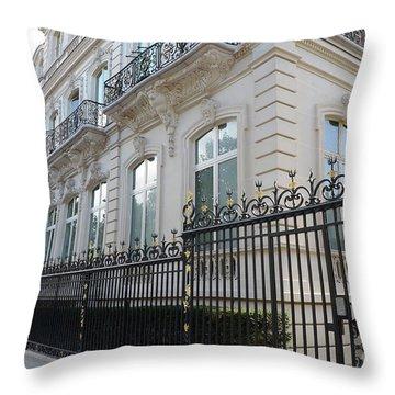 Throw Pillow featuring the photograph Paris Black Iron Ornate Gate To Parc Monceau - Parisian Gates  by Kathy Fornal