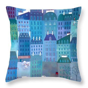 Paris Blues Throw Pillow by Nic Squirrell