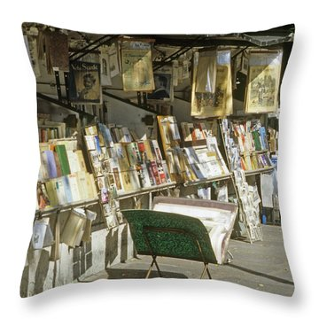 Paris Bookseller Stall Throw Pillow