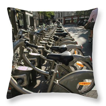 Paris By Bike Throw Pillow by Yoel Koskas