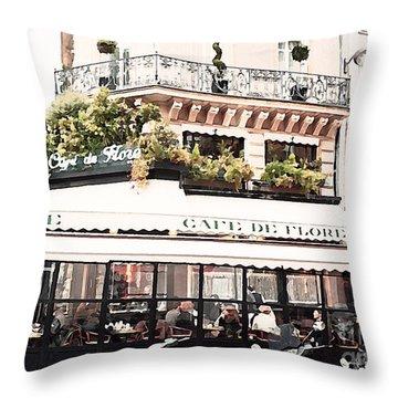 Paris Cafe De Flore Famous Landmark - Paris Street Cafe Restaurant  Throw Pillow