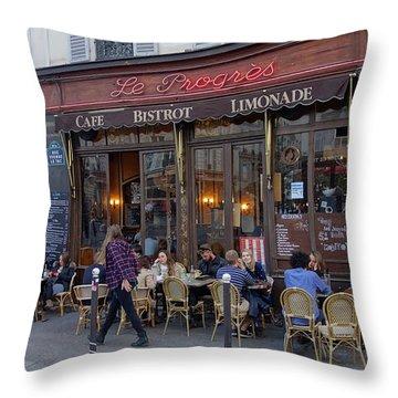 Paris Cafe Le Progres Throw Pillow