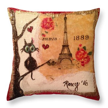 Paris Cat  Throw Pillow by Roxy Rich